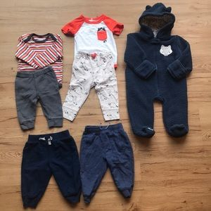2 matching outfits one snowsuit 2 pair of pants